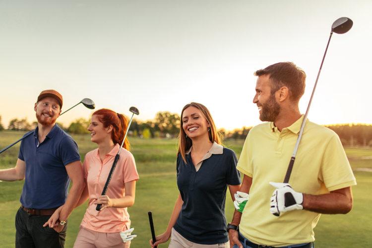 Friends golfing